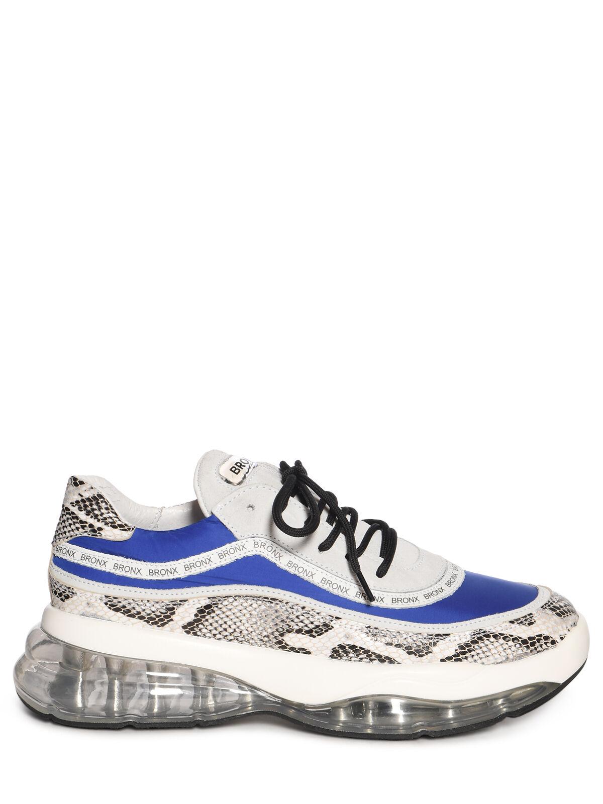 Bronx Sneaker mit Snake Print grau