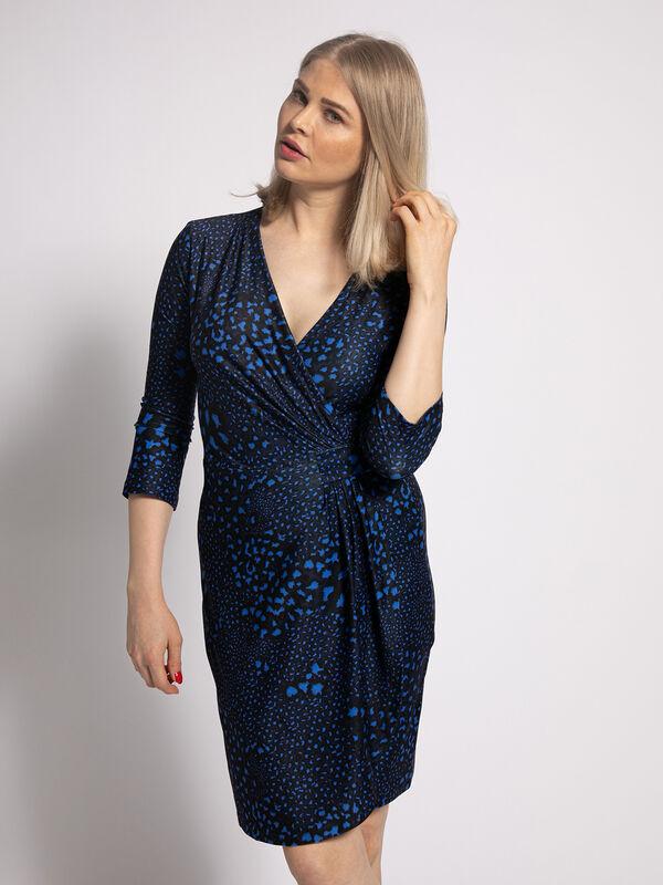 Malvin Kleid Wickeloptik Blau Schwarz Dress For Less