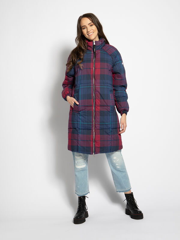 Tommy Hilfiger Wintermantel Check Puffa, Red Check Winter Coat